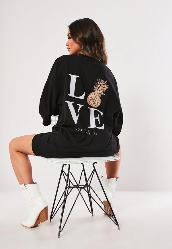 9749b247cbe Black Oversized Corset T Shirt Dress | Missguided Australia