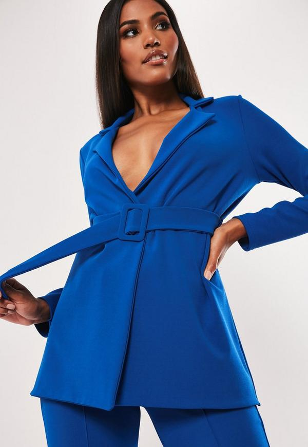 c527566f8393c1 Shoptagr | Tall Blue Co Ord Self Belted Tailored Blazer by Missguided