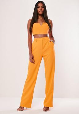 Высокие неоновые оранжевые брюки с прямыми ногами