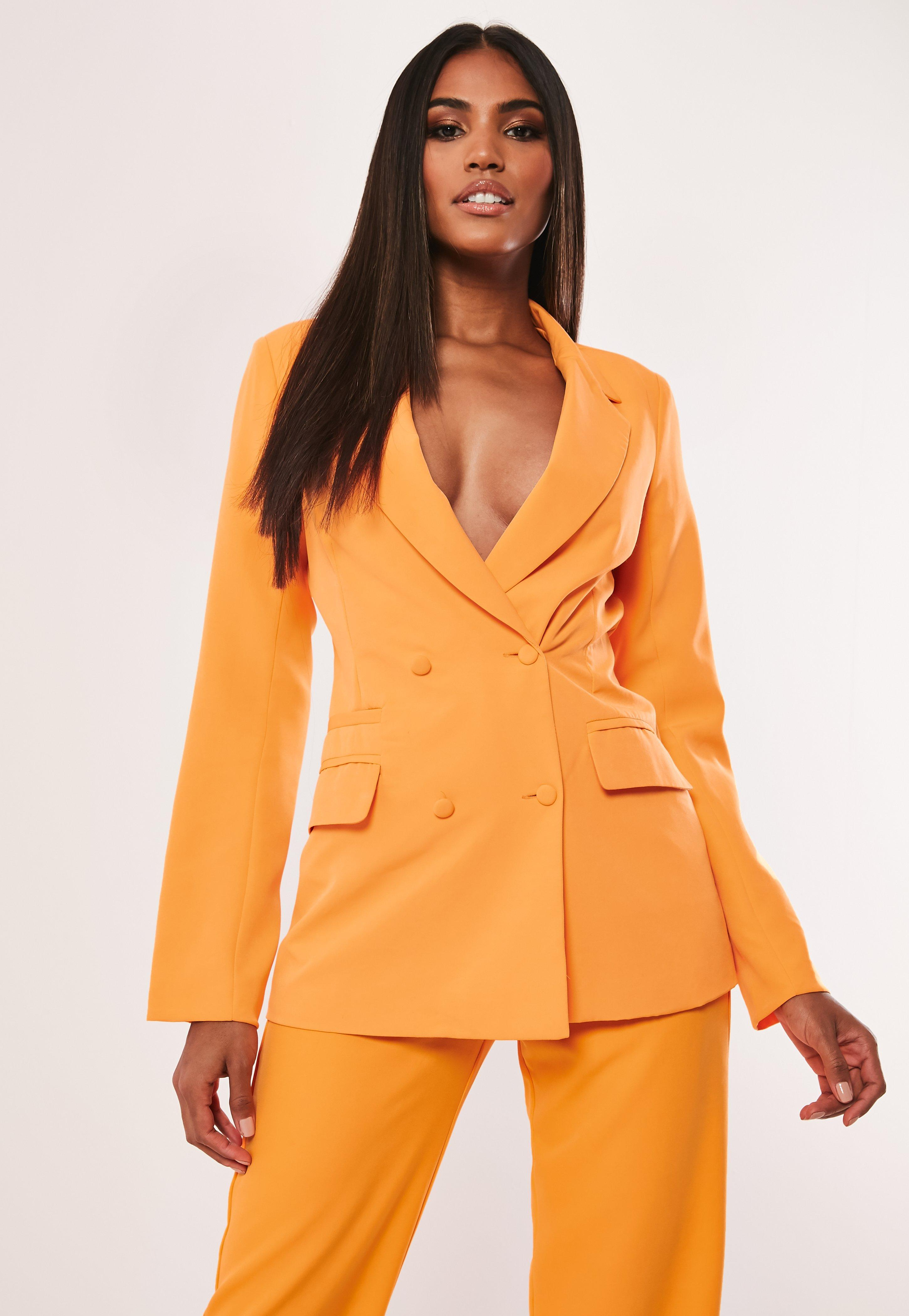 nouveau concept 736a4 e3cc5 Tall Neon Orange Co Ord Button Double Breasted Blazer