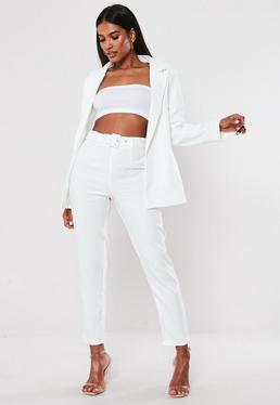 Высокие белые сигаретные брюки