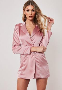 0377c6d5723 ... Tall Pink Satin Blazer Dress
