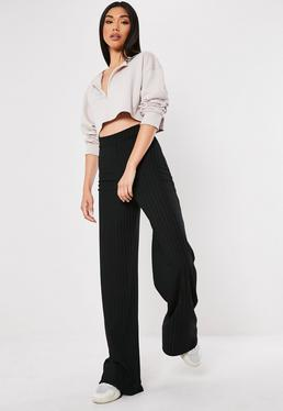 327e61db9c964 Tall Stone Cigarette Pants · Tall Black Ribbed Wide Leg Trousers