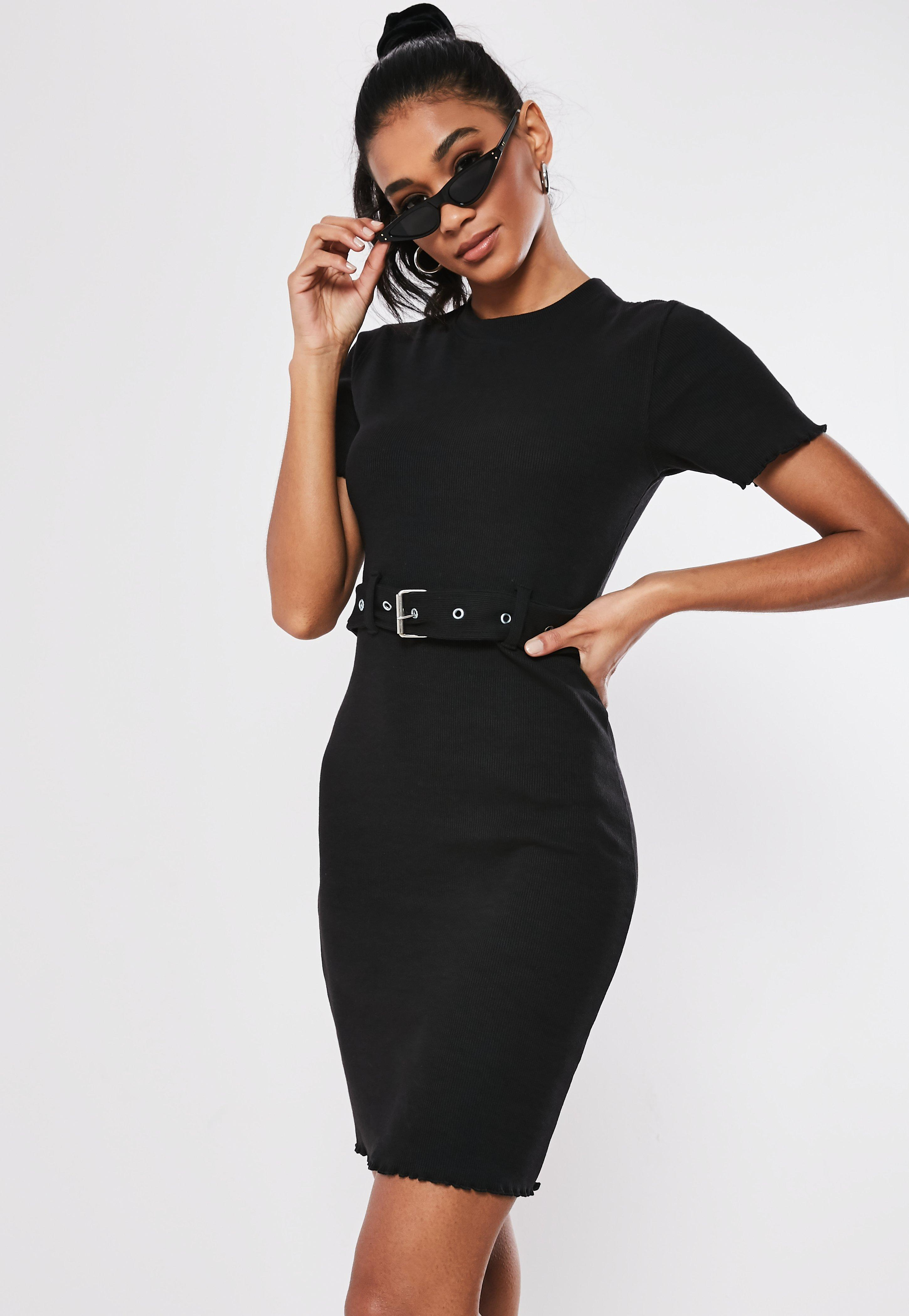 Tall Black Belted Short Sleeve Mini Dress