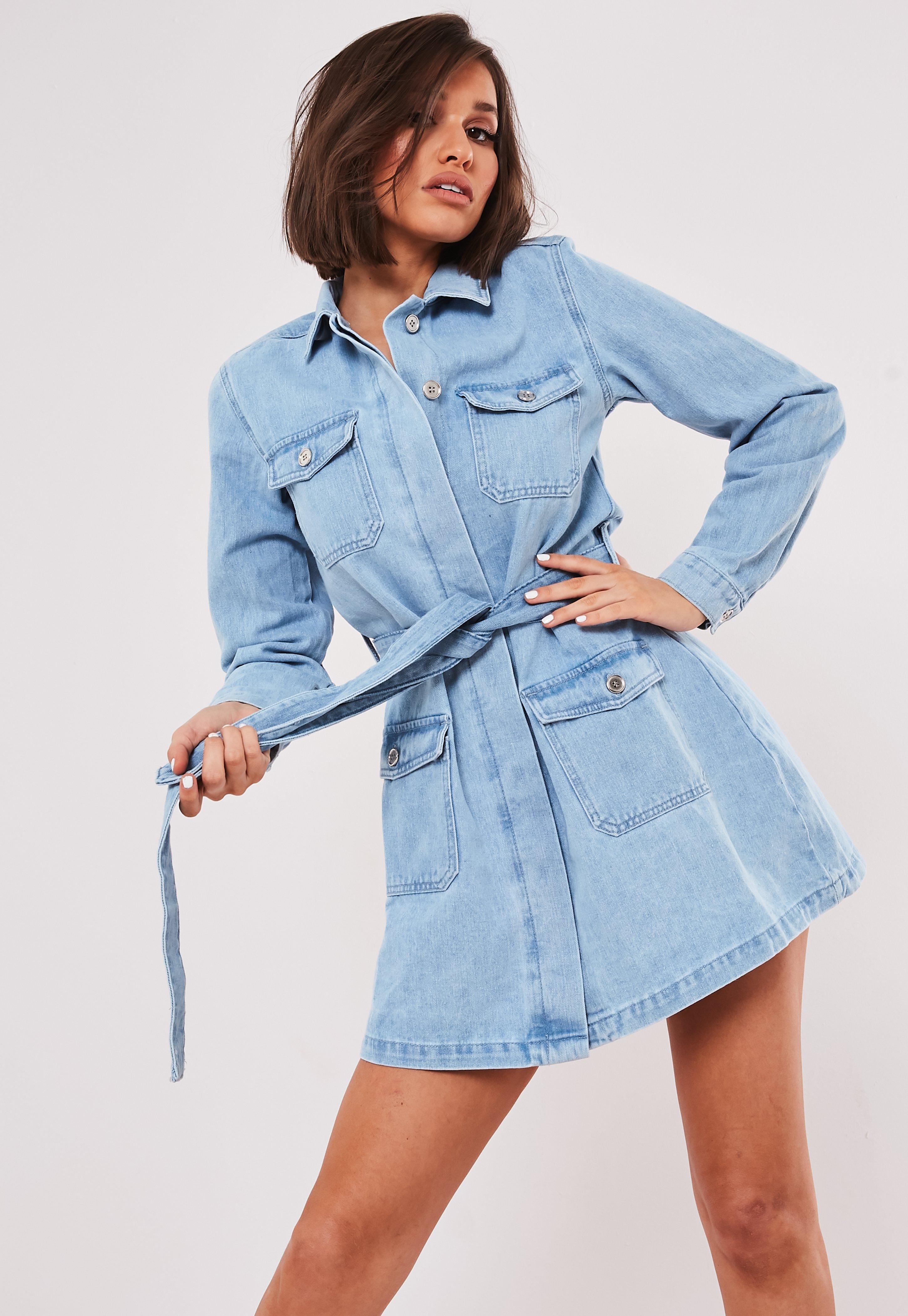 best detailed pictures outlet online Robe veste en jean bleu clair avec ceinture Tall
