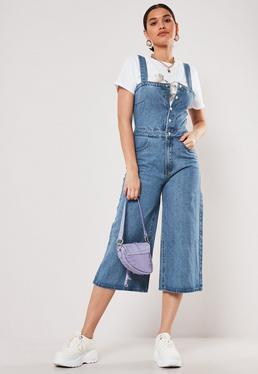 Высокий синий джинсовый комбинезон Culotte