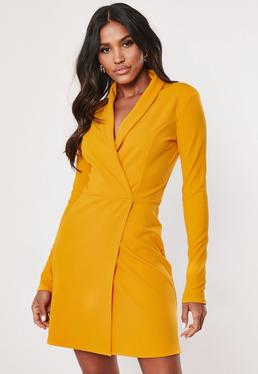 d9e6f158fbdc Tall Mustard Long Sleeve Blazer Dress