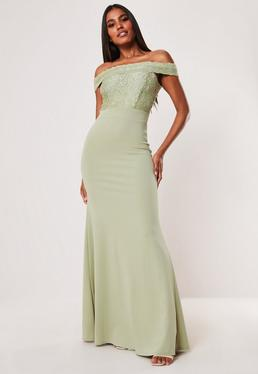 d8b2cf8c791 ... Tall Bridesmaid Green Lace Bardot Fishtail Maxi Dress