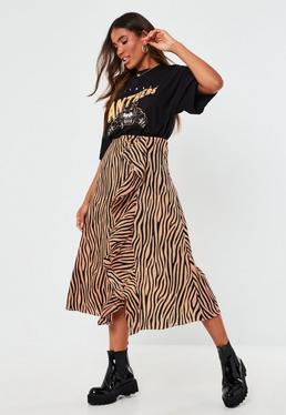 Высокая коричневая юбка-миди с принтом зебры