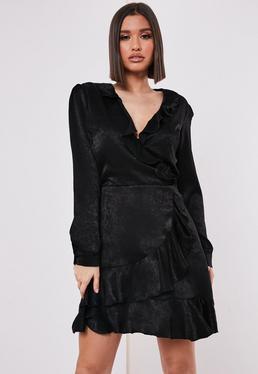 Noir Robe courte en sat à volants Tall, Noir
