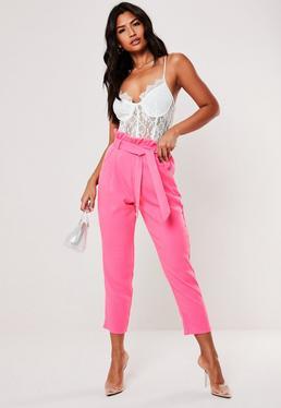 Высокие розовые сигаретные брюки с бумажным мешком