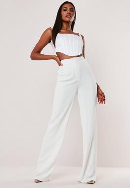 Высокие белые штаны с прямыми ногами