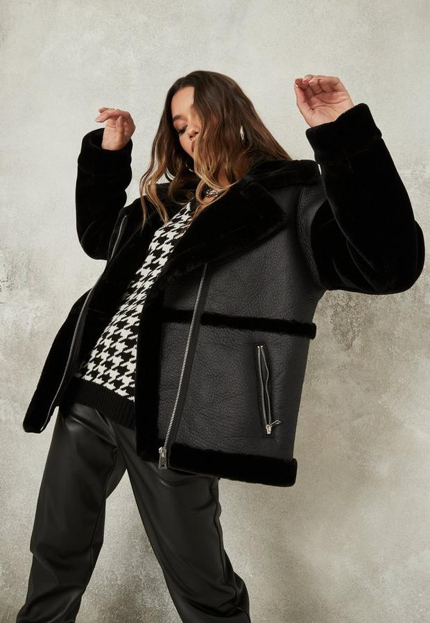 Black Faux Fur Sleeve Oversized Aviator Jacket