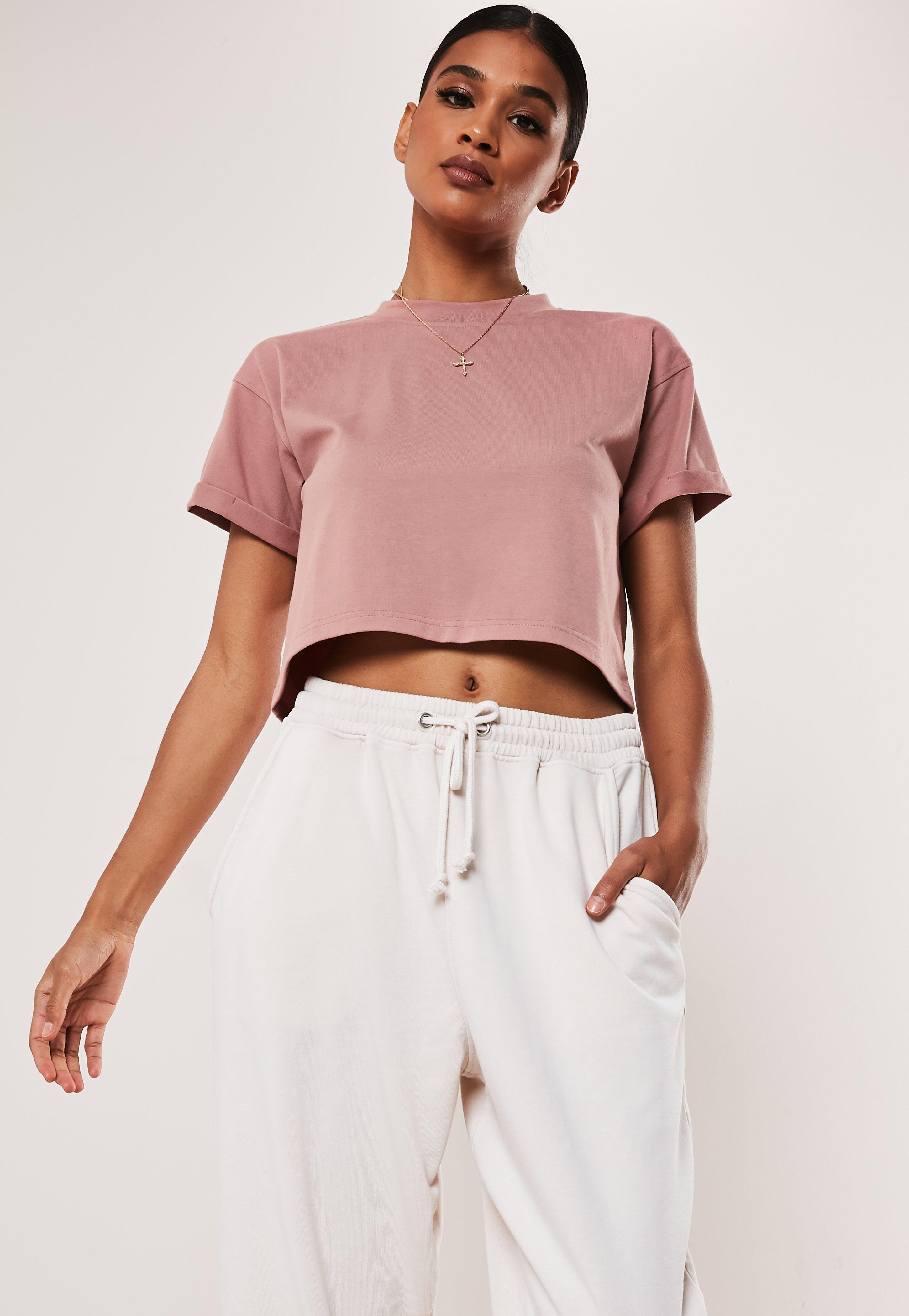 Tall Rose Roll Sleeve Crop Top by Missguided