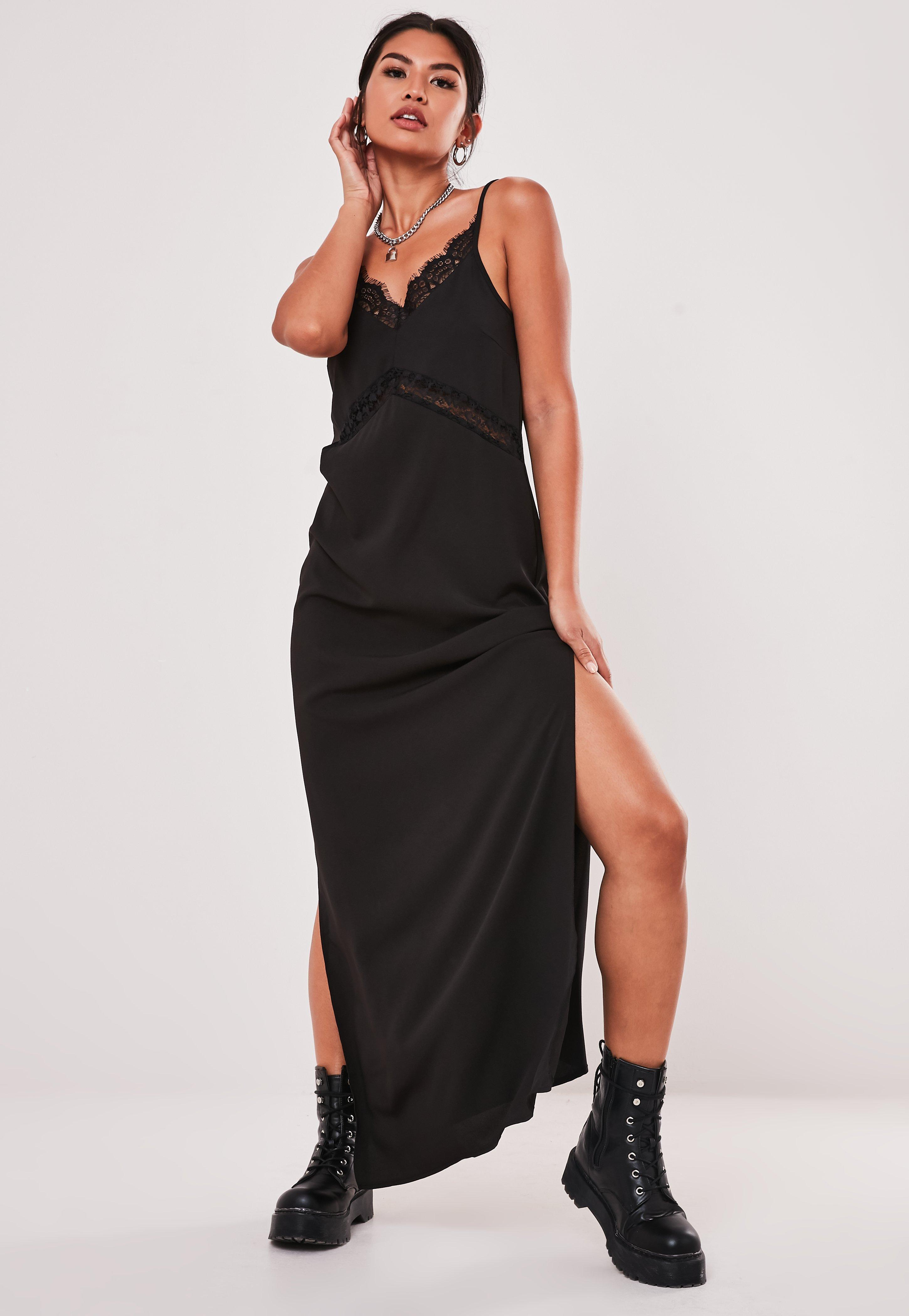 Tall Black Lace Insert Maxi Dress