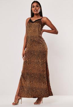 71433c4663d10 ... Robe longue imprimée léopard brun satinée Tall