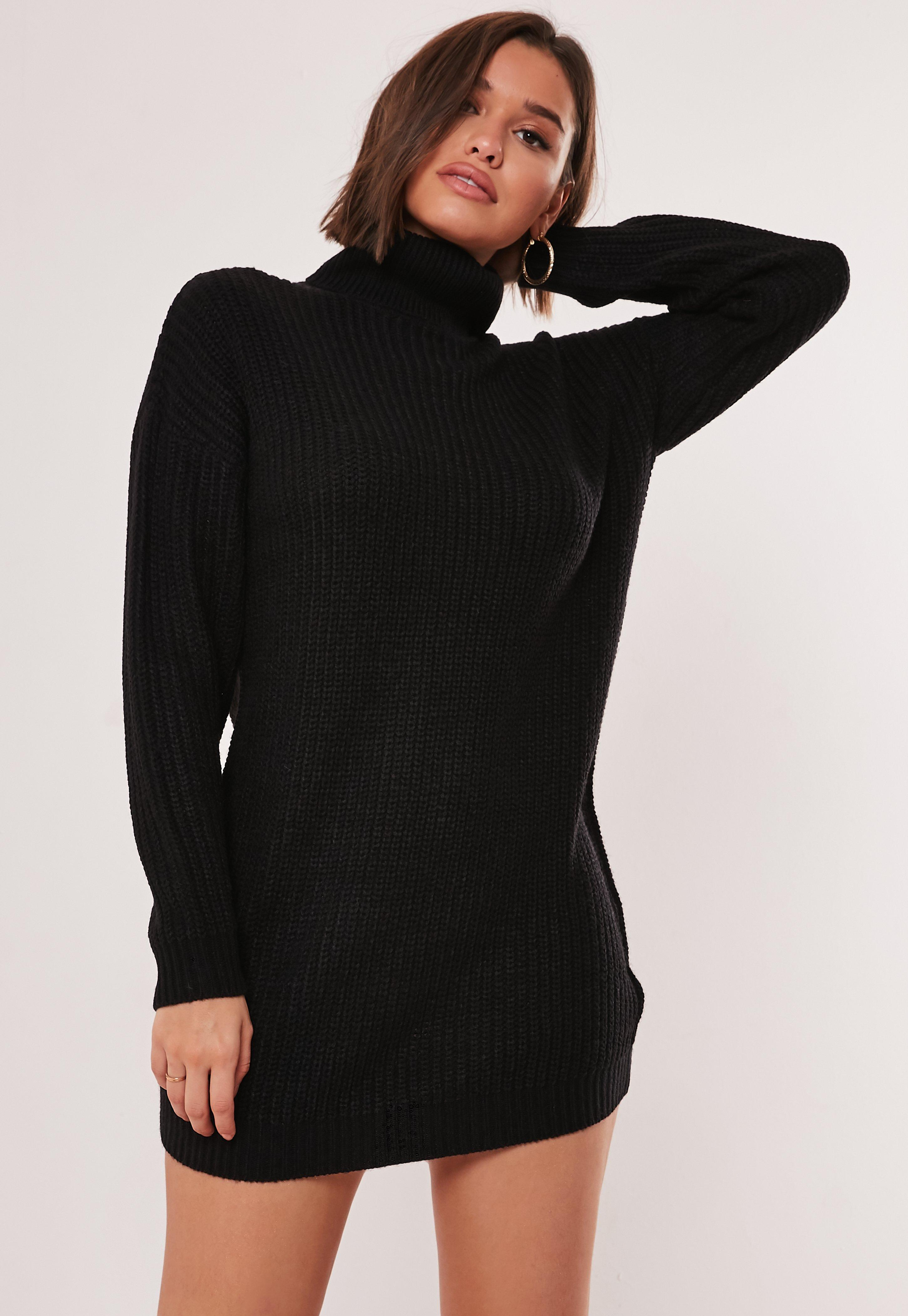 robe-pull noire col roulé tall