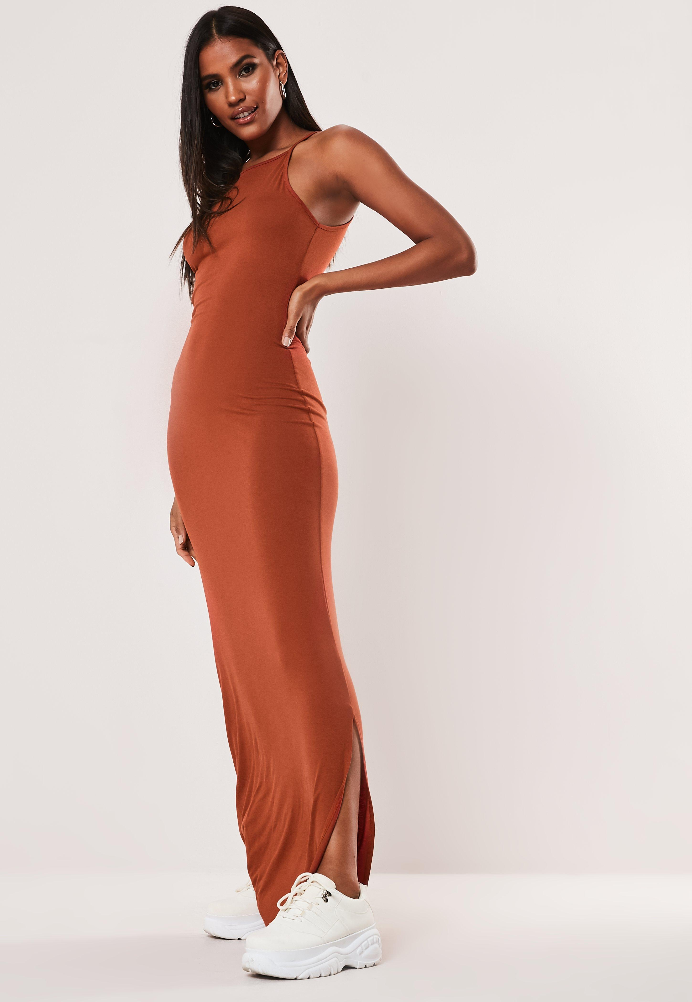 Orange Robe Basique Tall Longue Longue Robe JTlF1c3K
