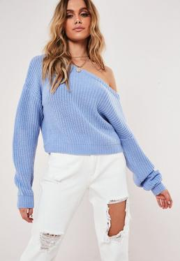 Tall Blue Crop Off The Shoulder Knitted Jumper