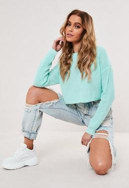 tall mint basic super cropped knitted jumper