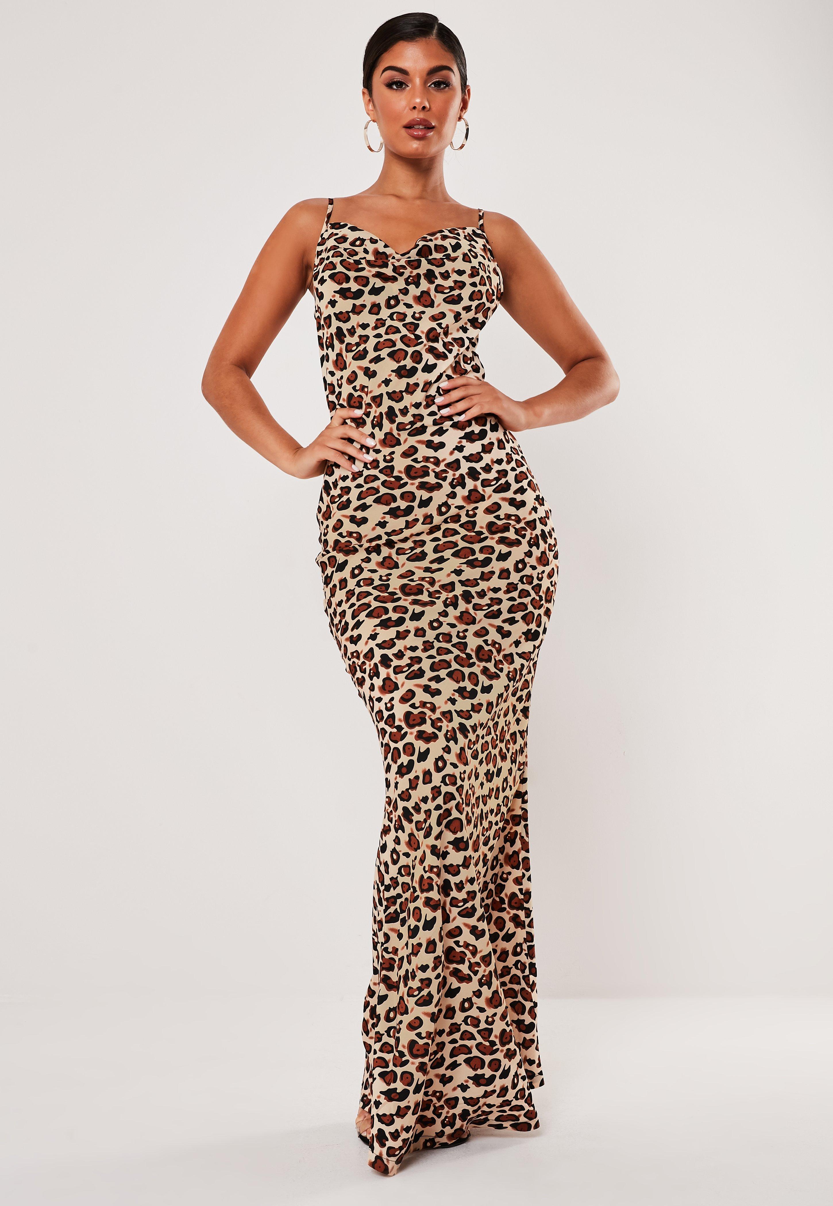34ea888f658ba Tall Brown Leopard Cowl Neck Maxi Dress | Missguided