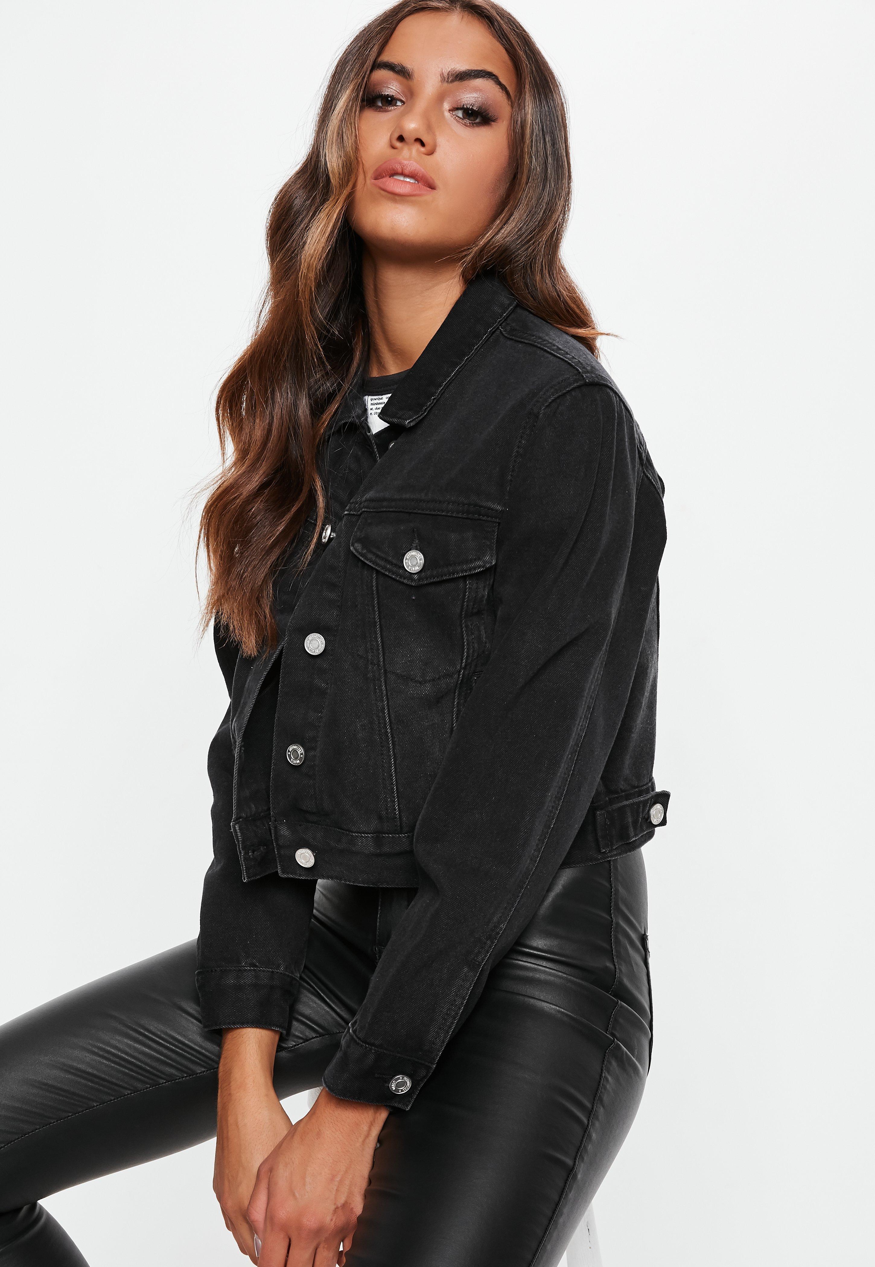 Veste jean noir moumoute femme