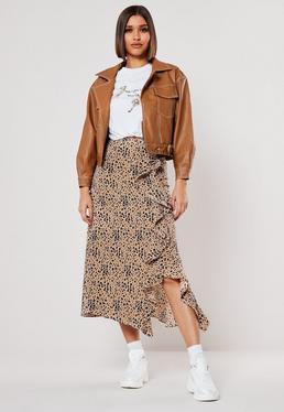 Высокая леопардовая юбка-миди с принтом
