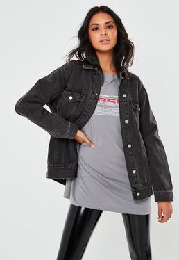 Tall Czarna jeansowa owersajzowa kurtka
