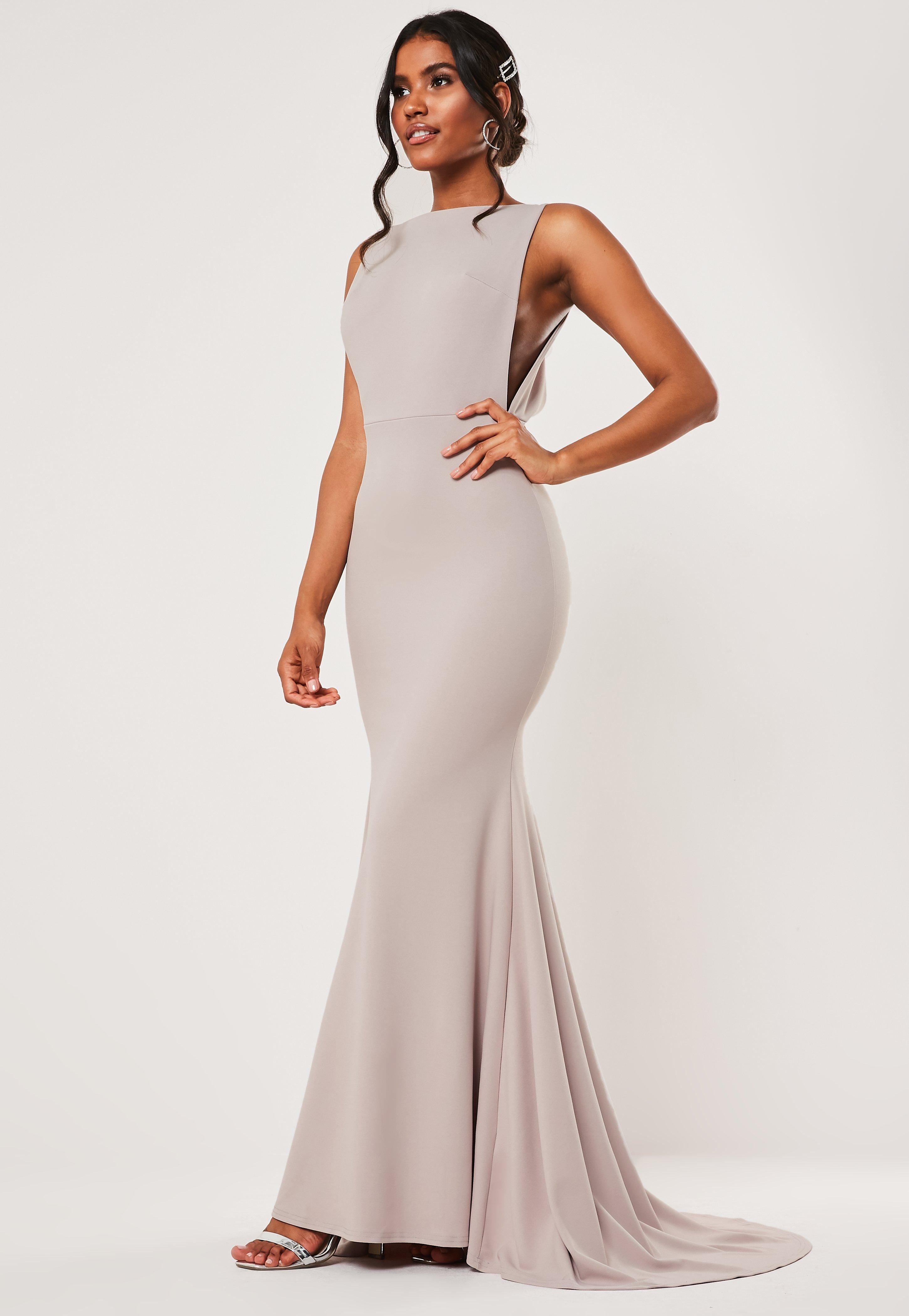 Tall Bridesmaid Gray Sleeveless Low Back Maxi Dress by Missguided
