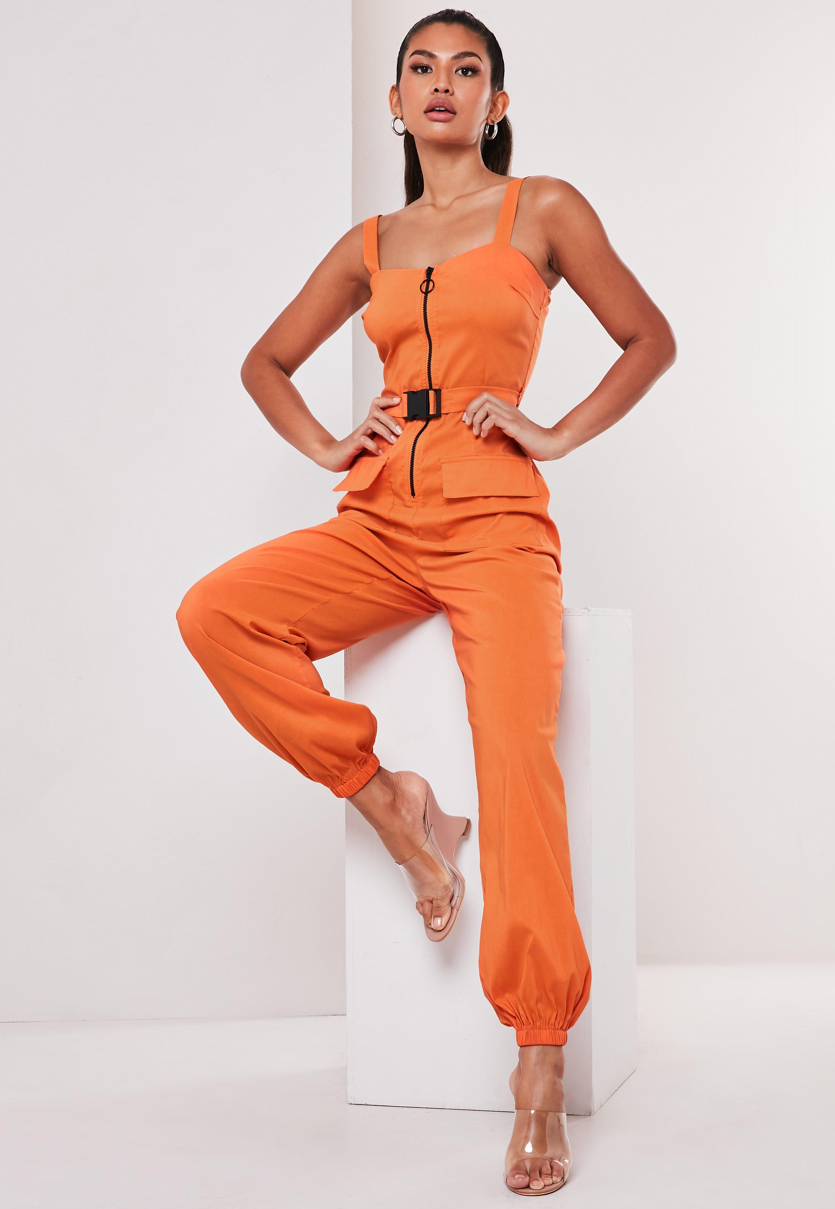 Tall Orange Zip Front Seatbelt Detail Jumpsuit by Missguided