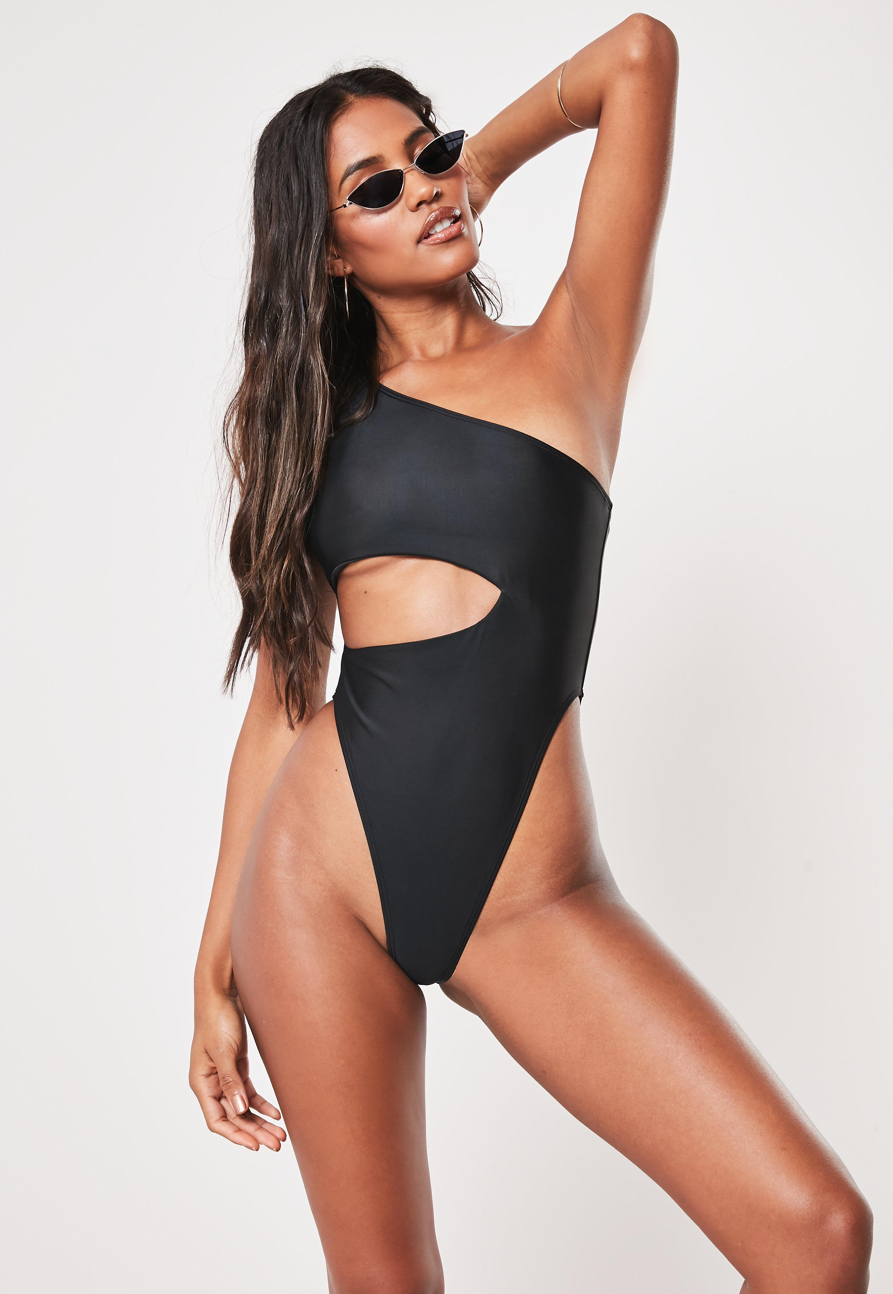 Missguided Tall Black One Shoulder Cut Out High Leg Swimsuit