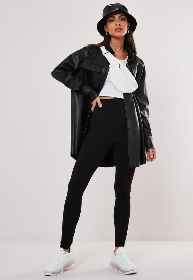 tall black basic jersey leggings