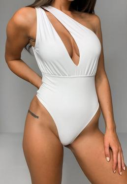 Tall White One Shoulder Cut Out Swimsuit