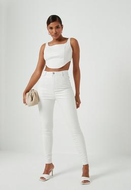 Tall White Mock Croc Faux Leather Pants