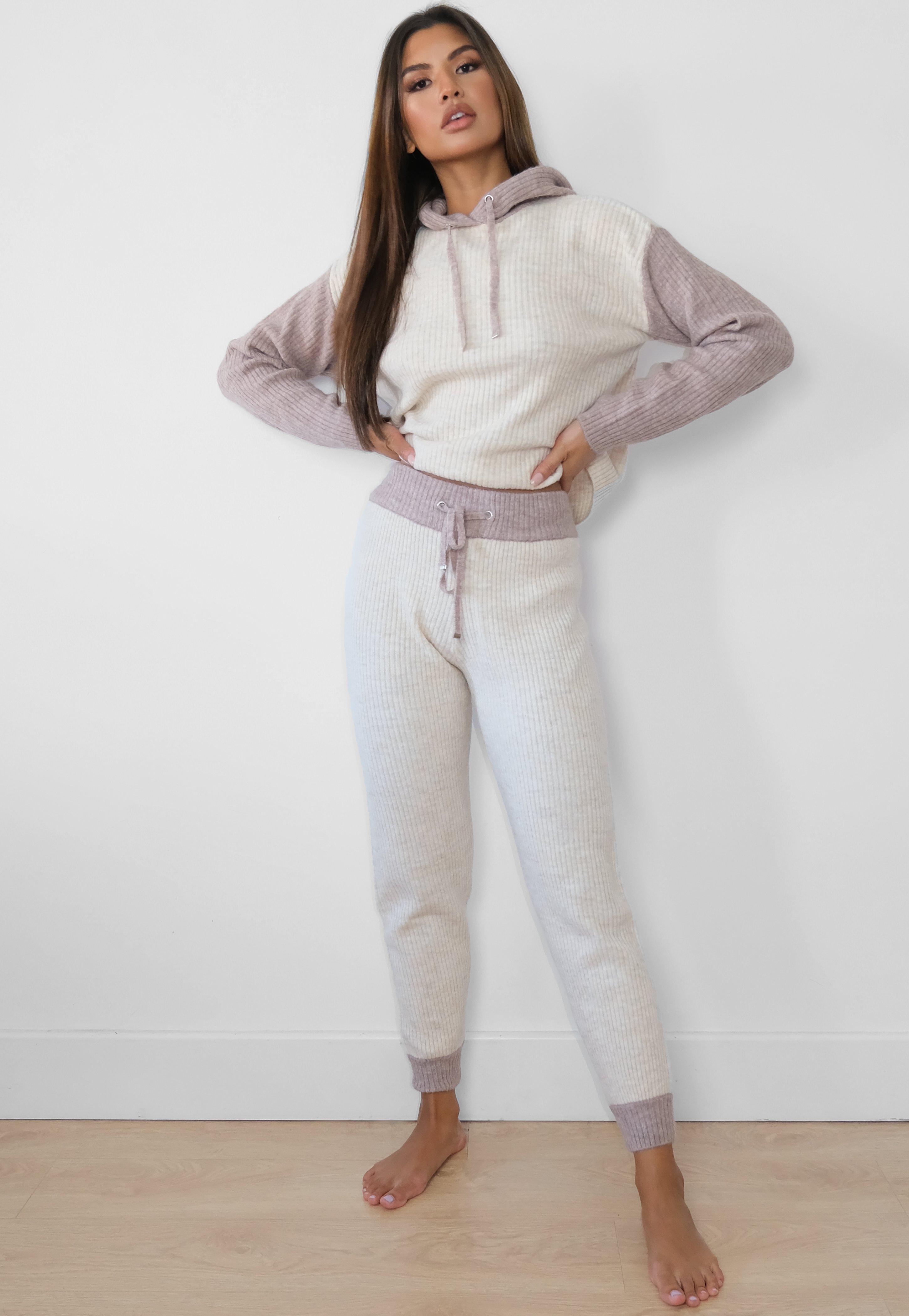 Pantalon Jogger En Dos Tonos Para Combinar Para Mujeres Altas En Color Piedra Missguided