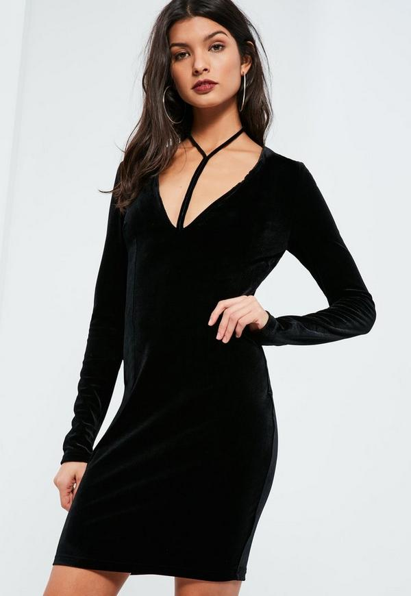 Tall Black Velvet Harness Neck Dress