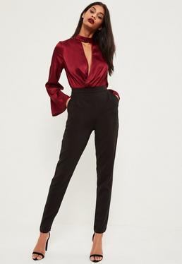 Czarne spodnie cygaretki dla wysokich kobiet