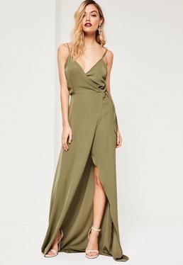 Tall Khaki Wrap Maxi Dress