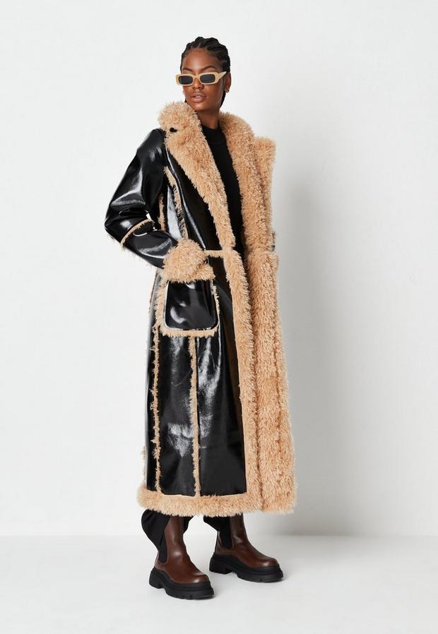 tall black faux leather maxi aviator coat