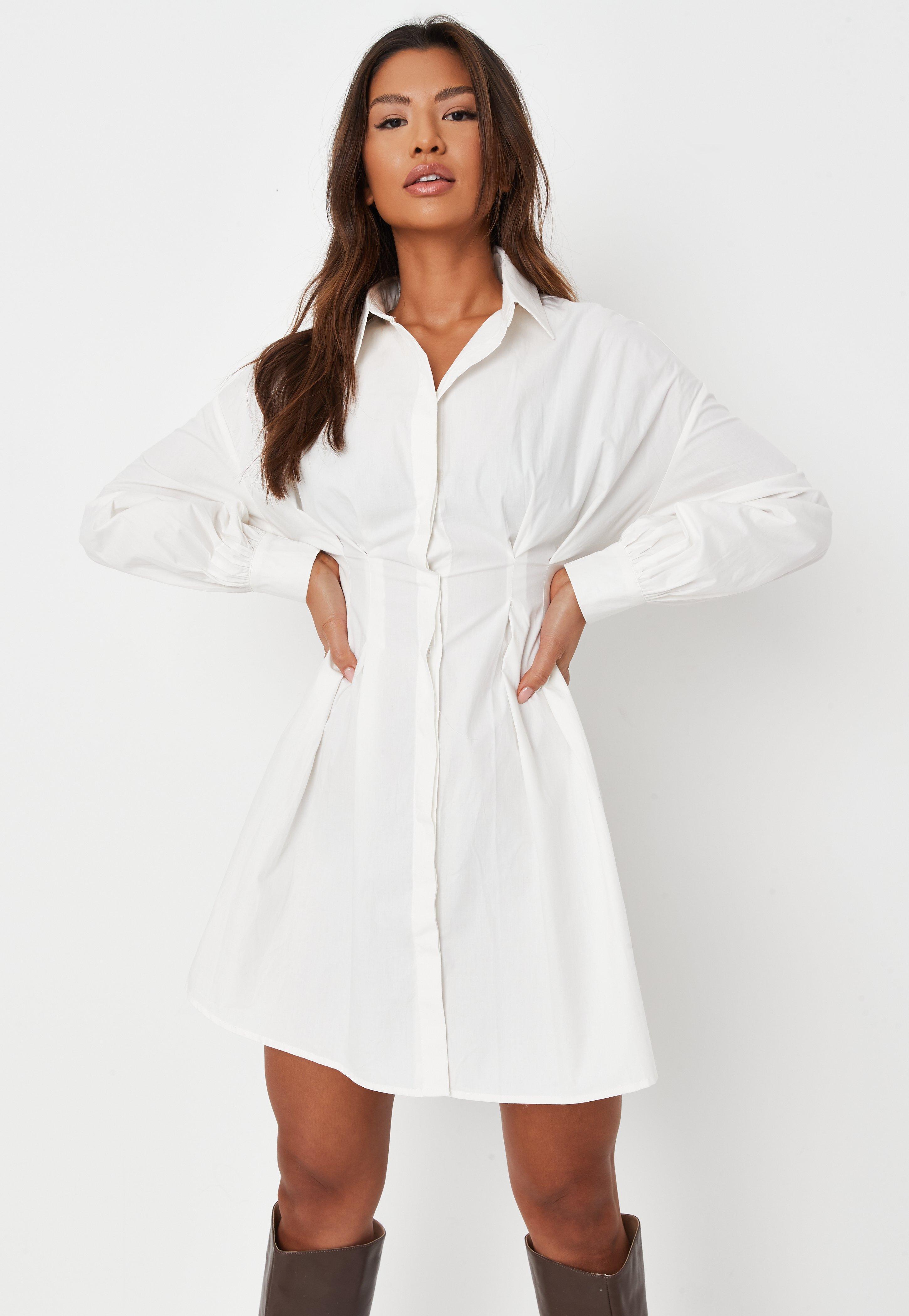 Tall White Poplin Pleated Waist Shirt Dress