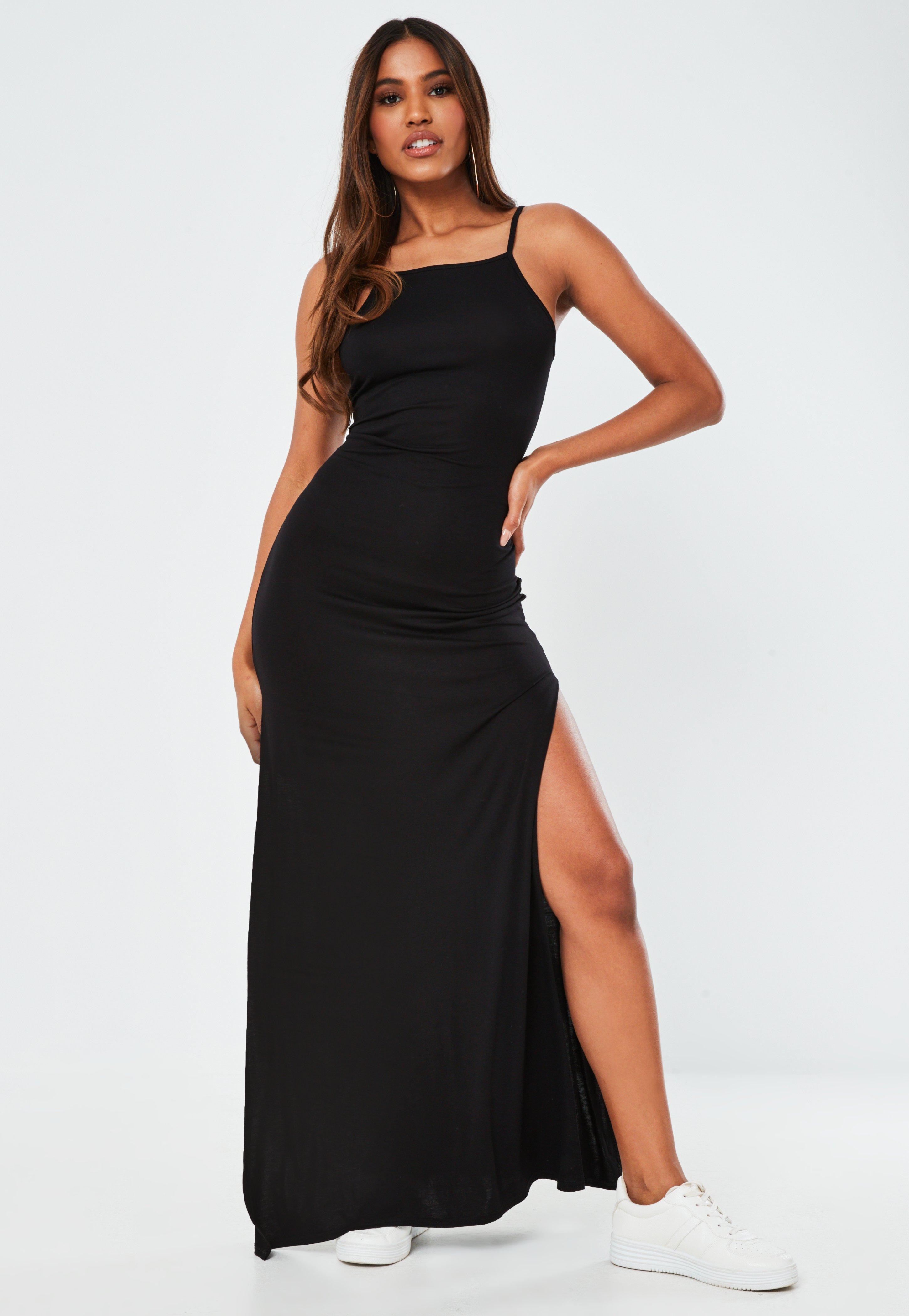 Tall Czarna sukienka maxi na ramiączkach z rozcięciem