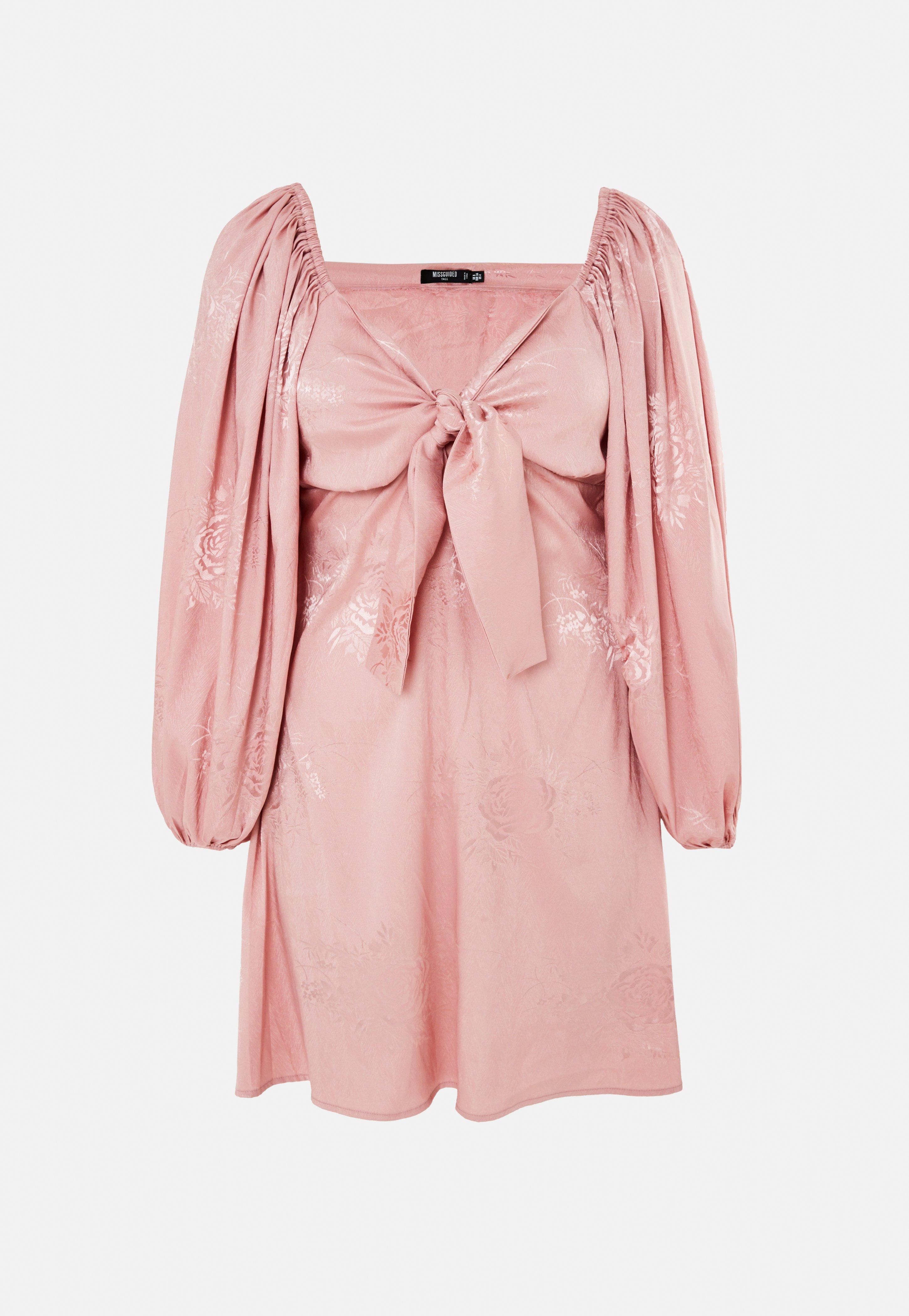 tall satin jacquard minikleid mit puffärmeln in rosa