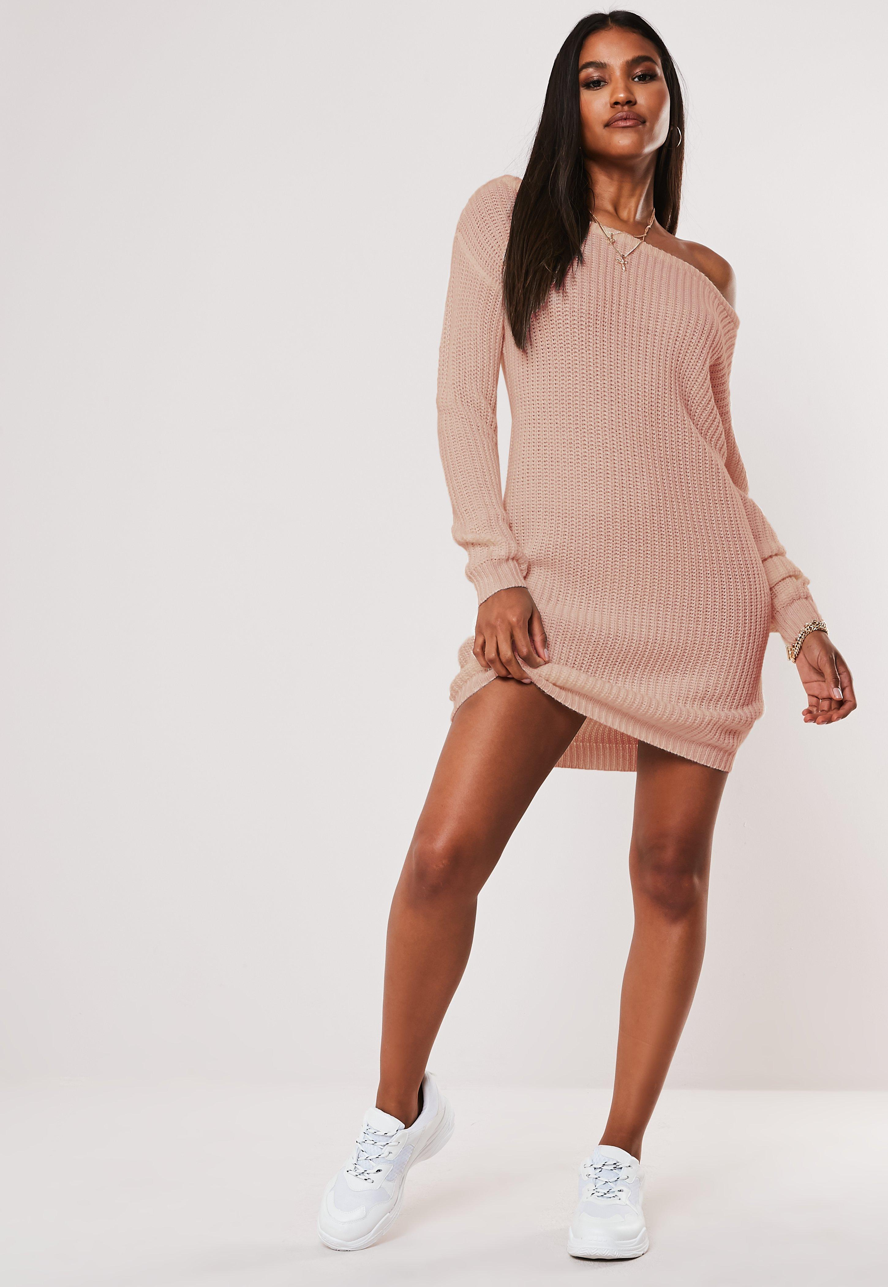 Tall Pink Off The Shoulder Knitted Jumper Dress