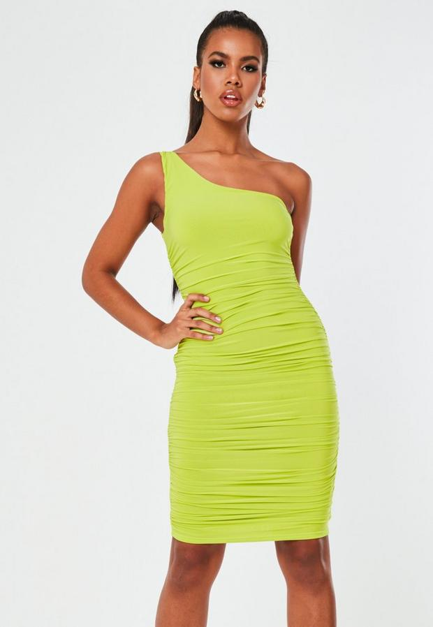 tall lime slinky ruched one shoulder mini dress