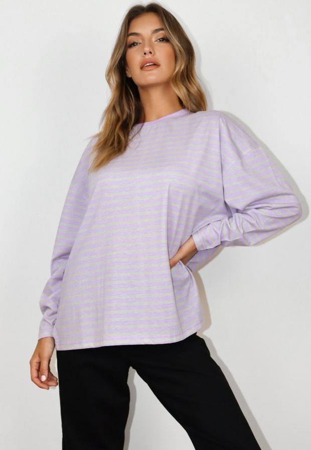 tall purple stripe long sleeve t shirt