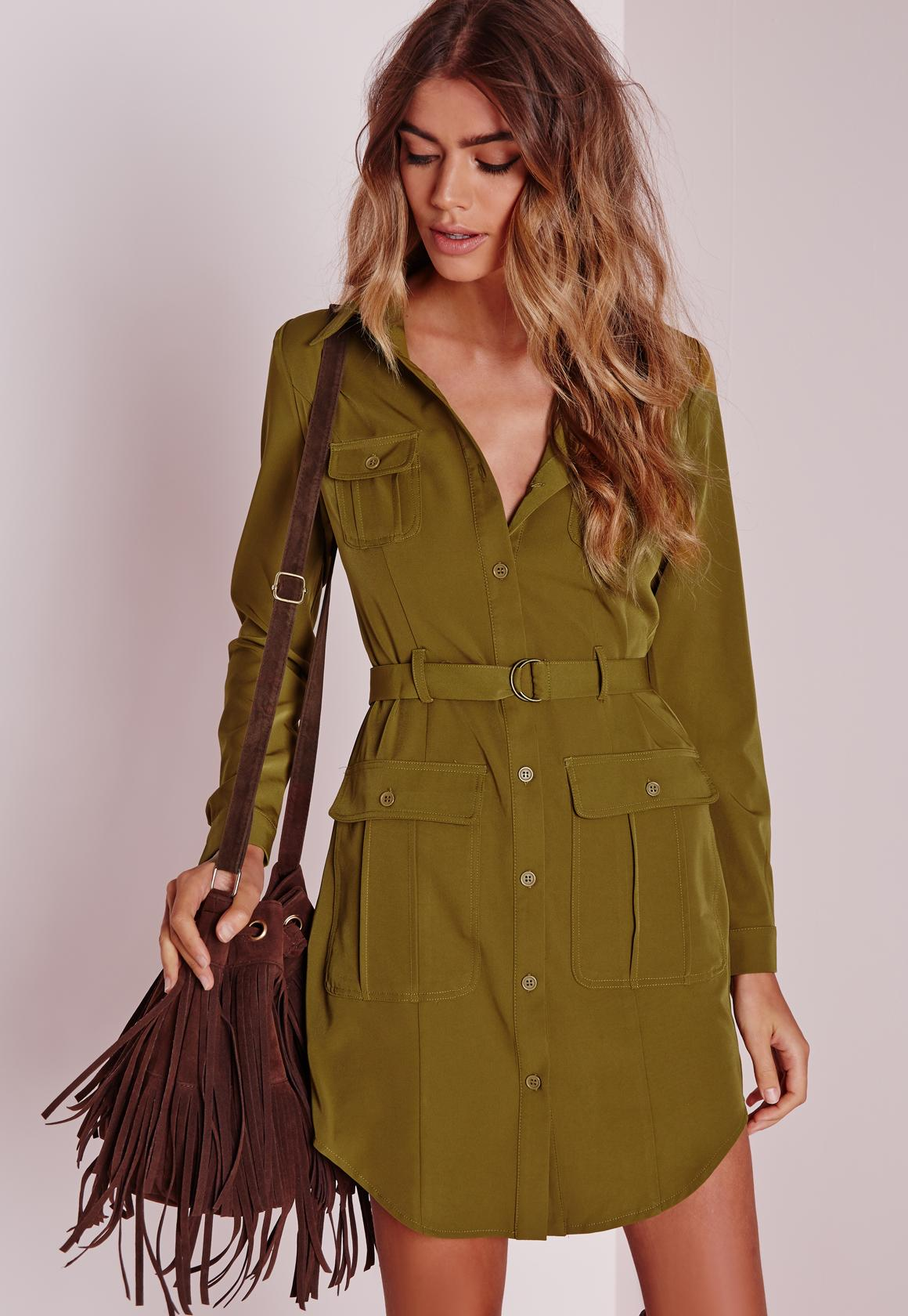 Petite Belted Shirt Dress Khaki | Missguided Ireland