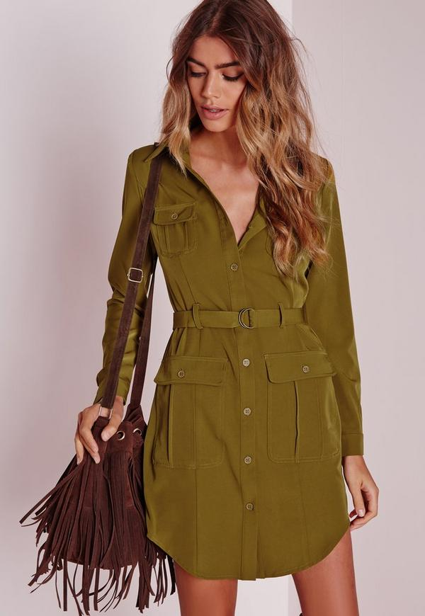 Petite Belted Shirt Dress Khaki