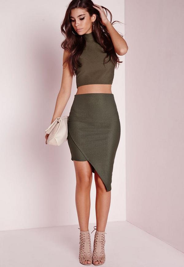 Petite Asymmetric Skirt Khaki