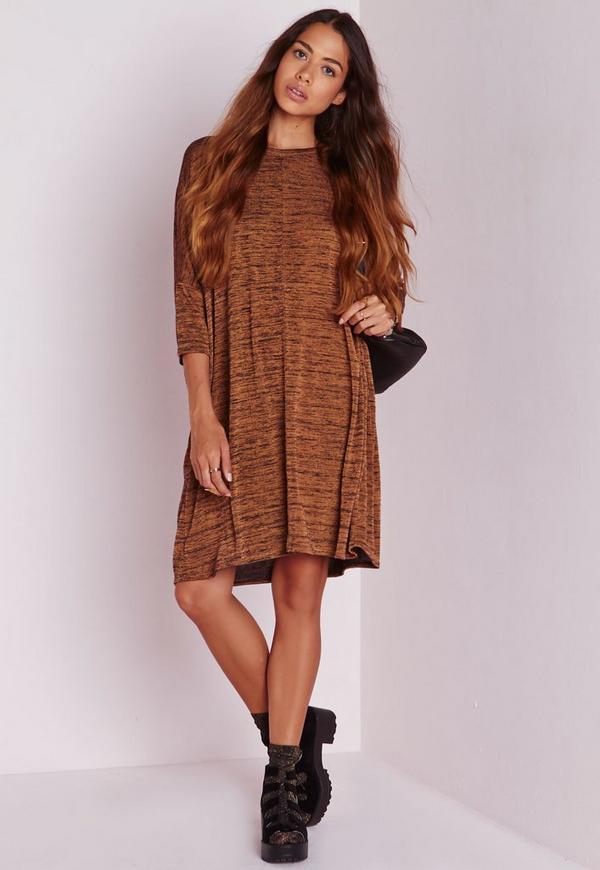 Petite Oversized T Shirt Dress Brown