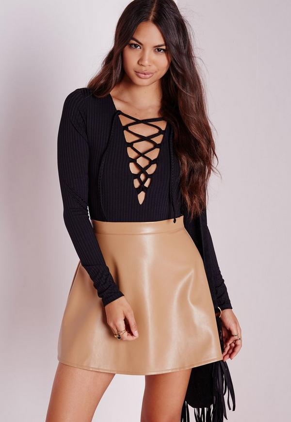 Petite Tie Up Front Bodysuit Black